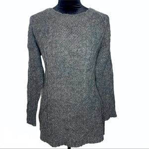 SOFT SURROUNDINGS Gray Cable Knit Wool Sweater